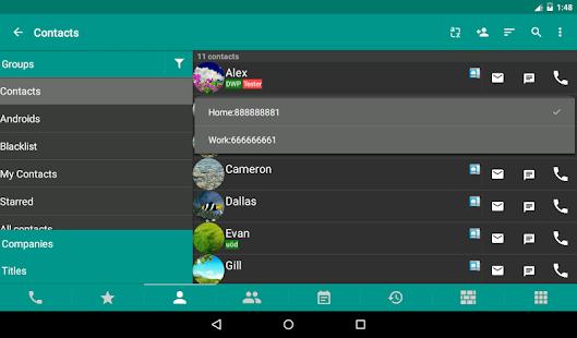 Conectores DW y pantalla de teléfono y SMS