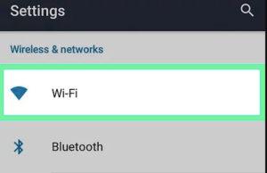Opción de WiFi en la configuración