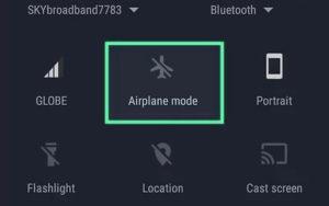 Modo avión en configuraciones rápidas