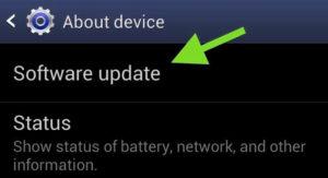 Opción de actualización de software en Acerca del dispositivo