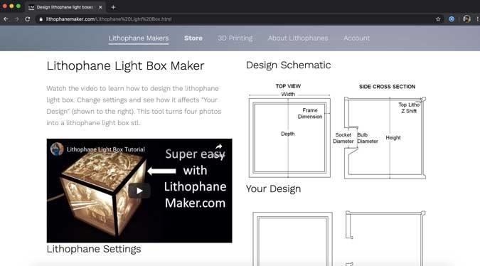 sitio web de lithofanemaker para hacer una caja de luz