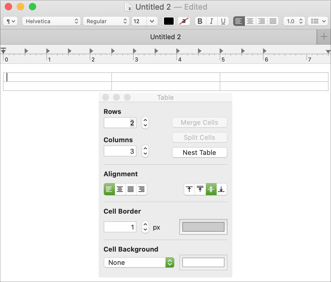 Crear texto de tabla Editar Mac