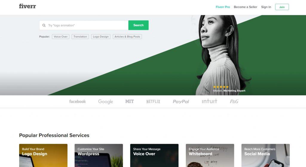 Fiverr - Los mejores sitios web independientes