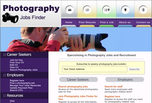 Buscador de trabajos de fotografía