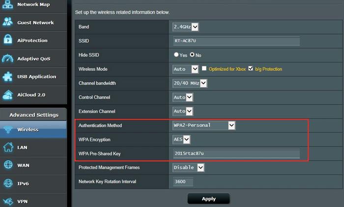 Seleccione la protección de contraseña WEP / WEP2