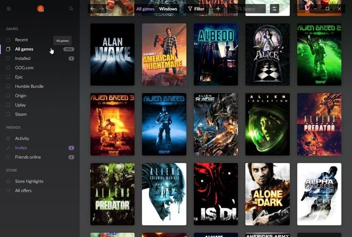 Gog Galaxy 2    Lista de filtros de juegos multiplataforma