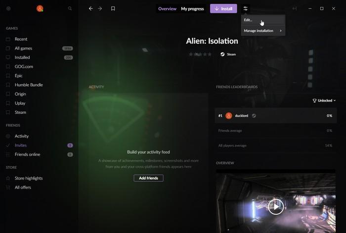 Gog Galaxy 2    Juegos multiplataforma Editar datos del juego