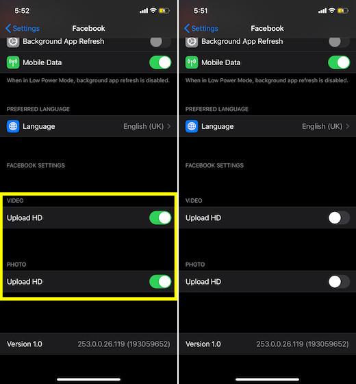 Evitar Facebook de subir imágenes y videos de alta definición