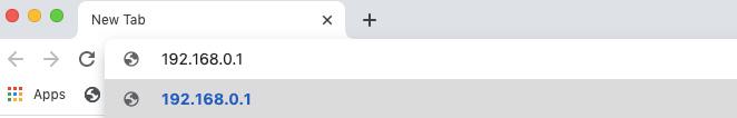 ingrese la dirección IP del enrutador en la barra de URL