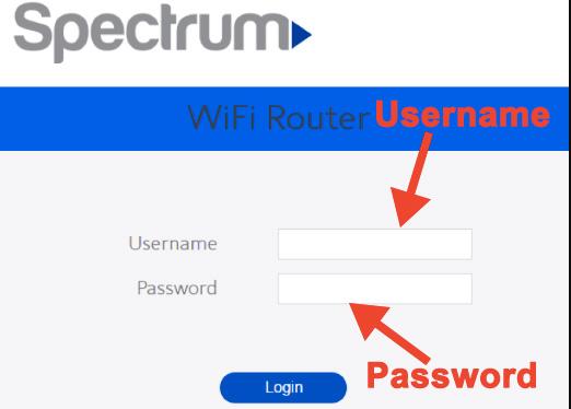 Ingrese nombre de usuario y contraseña de inicio de sesión de Spectrum