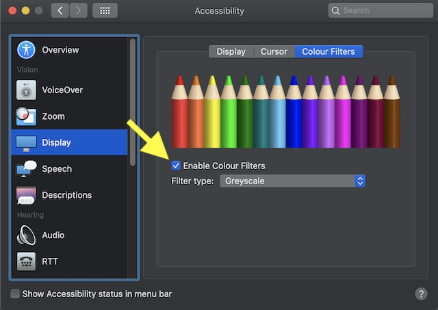 Habilitar filtros de color en Mac