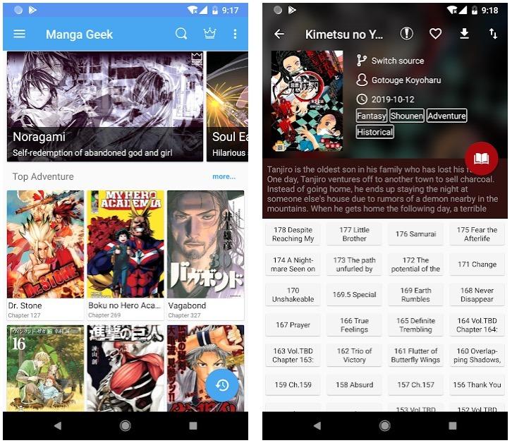 Manga Geek - Aplicación gratuita de Manga Reader