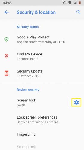 Acceso a la configuración para la seguridad del dispositivo Android Nougat.