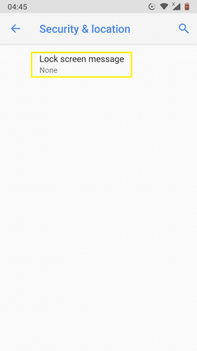 Accediendo al mensaje de bloqueo de pantalla para Android Nougat.