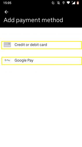 Hai phương thức thanh toán khác nhau tại Uber.