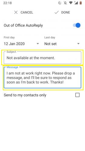 Schreiben Sie basierend auf der automatischen Antwort von außerhalb des Büros in Google Mail für Android.