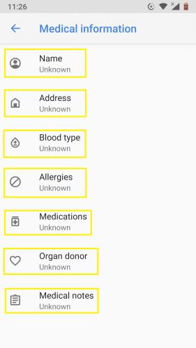 Poner en la información de emergencia en Android 9.