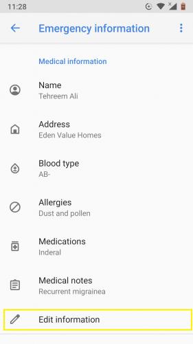 Eliminar información de emergencia en Android 9.