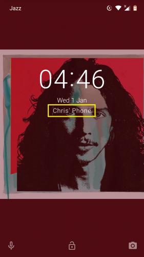Mensaje de bloqueo de pantalla en un dispositivo Android Nougat.