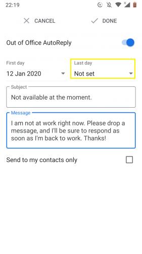 Einrichten des letzten Tages zum Verlassen des Auto-Responder-Büros in Google Mail für Android