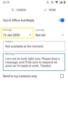 Einrichten des ersten Tages zum Verlassen des Büros für automatische Antworten in Google Mail für Android.