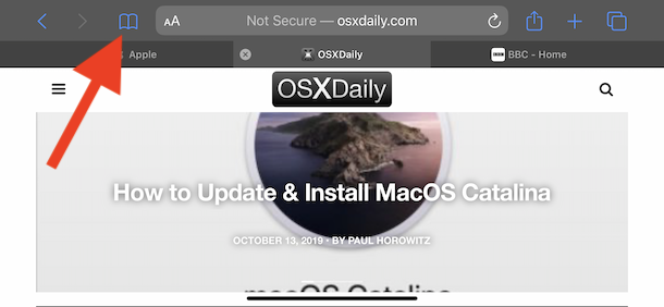 Mantenga presionado el icono de marcadores para agregar marcadores para todas las pestañas abiertas de Safari
