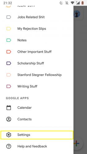 Gehen Sie zu den Einstellungen, um die automatische Antwort außerhalb des Büros in Google Mail für Android einzurichten.
