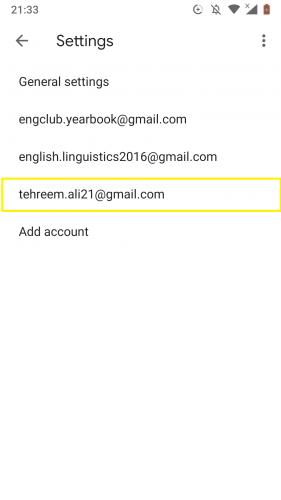 Elegir su cuenta de Gmail para administrar etiquetas fácilmente en Gmail para Android.