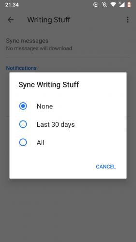Sincronizar una etiqueta de Gmail en Android.