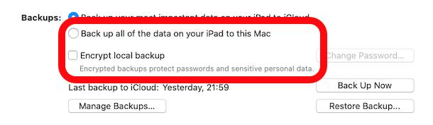 Seleccione las opciones de copia de seguridad para iPhone o iPad en MacOS Finder