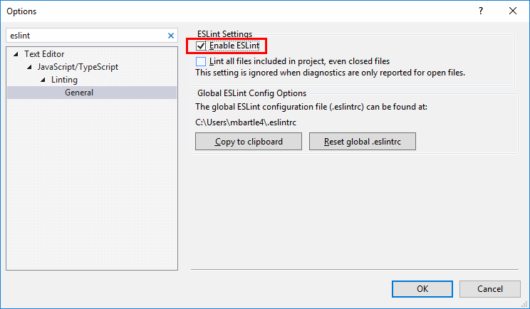 entorno de Visual Studio ESLint