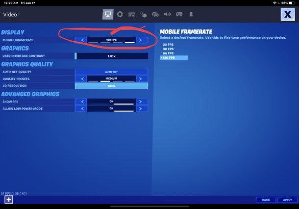 Cómo cambiar FPS en Fortnite en movil