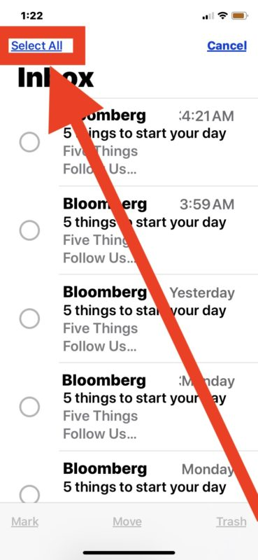 Cómo eliminar todos los correos electrónicos en iPhone o iPad desde la aplicación de Correo seleccionándolos todos