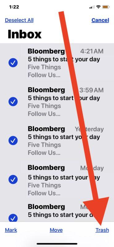 Cómo eliminar todos los correos electrónicos en el iPhone o iPad de la aplicación de correo mediante la papelera