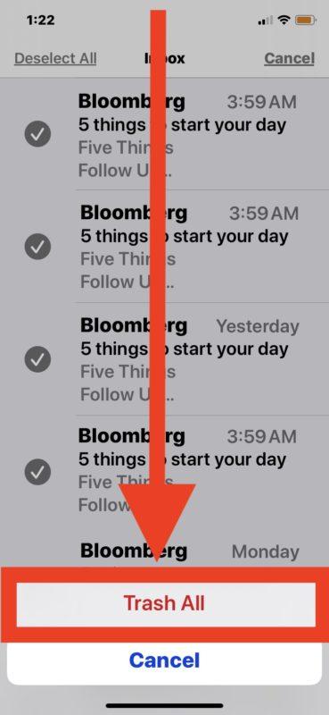 Cómo eliminar todos los correos electrónicos en iPhone o iPad desde la aplicación de correo