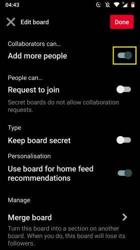 Pinterest Android için: Panoları düzenleme 8