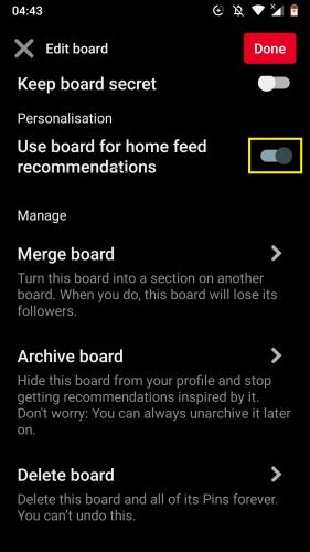 Pinterest Android için: Panoları düzenleme 11