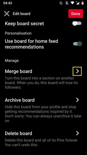 Pinterest Android için: Panoları düzenleme 12