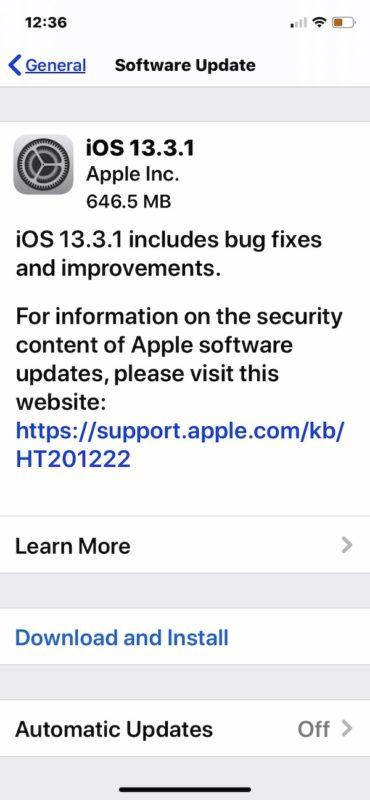 iOS 13.3.1 actualizar