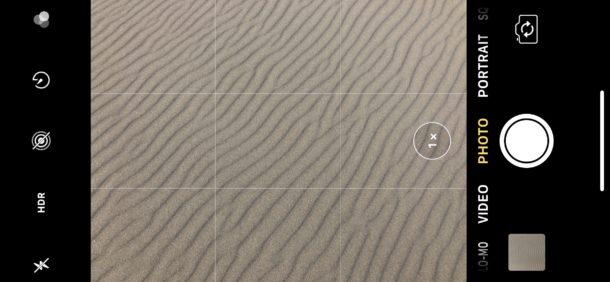 La orientación del iPhone en orientación vertical también coloca a la cámara en esa orientación