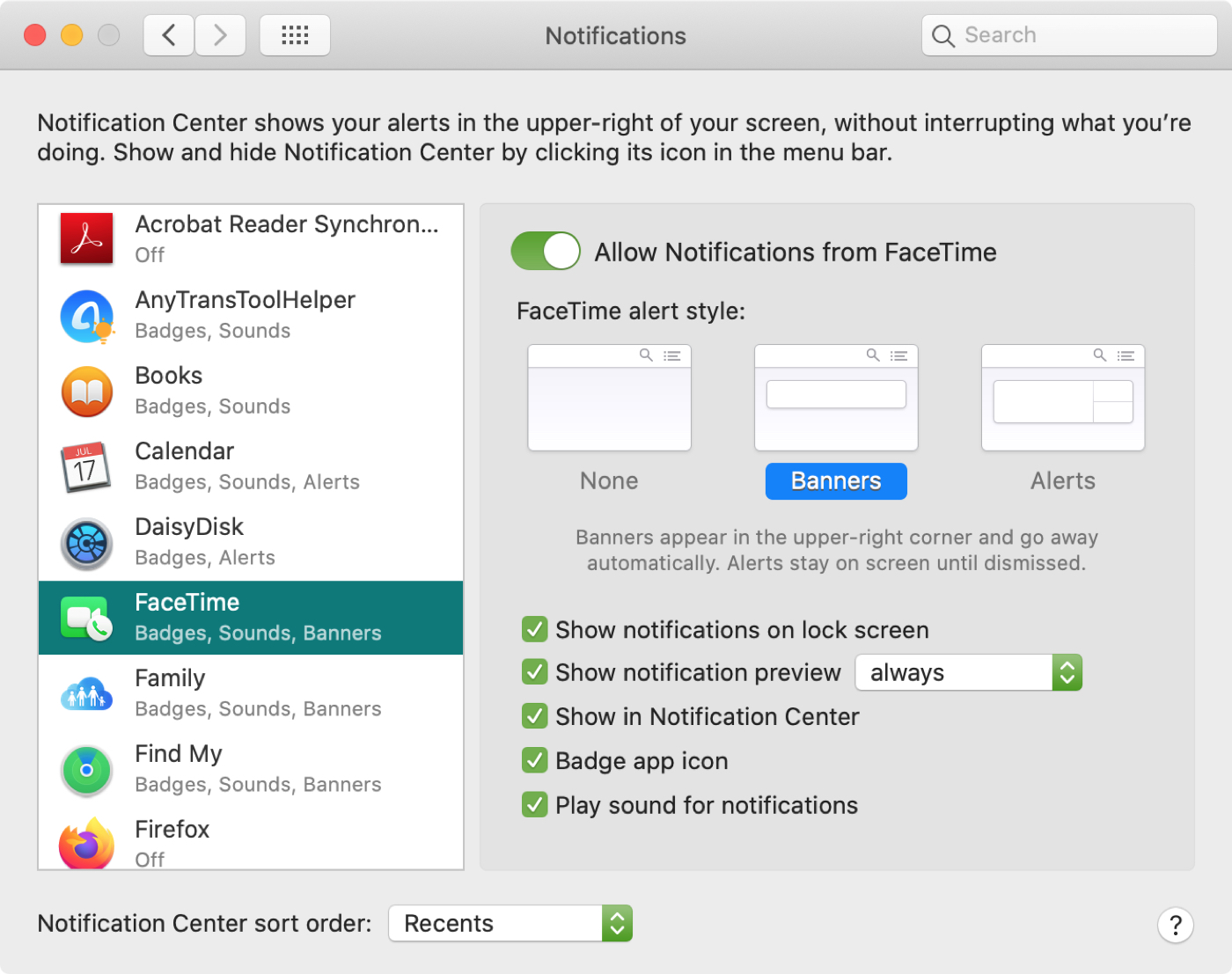 Mensajes de configuración del sistema FT Mac