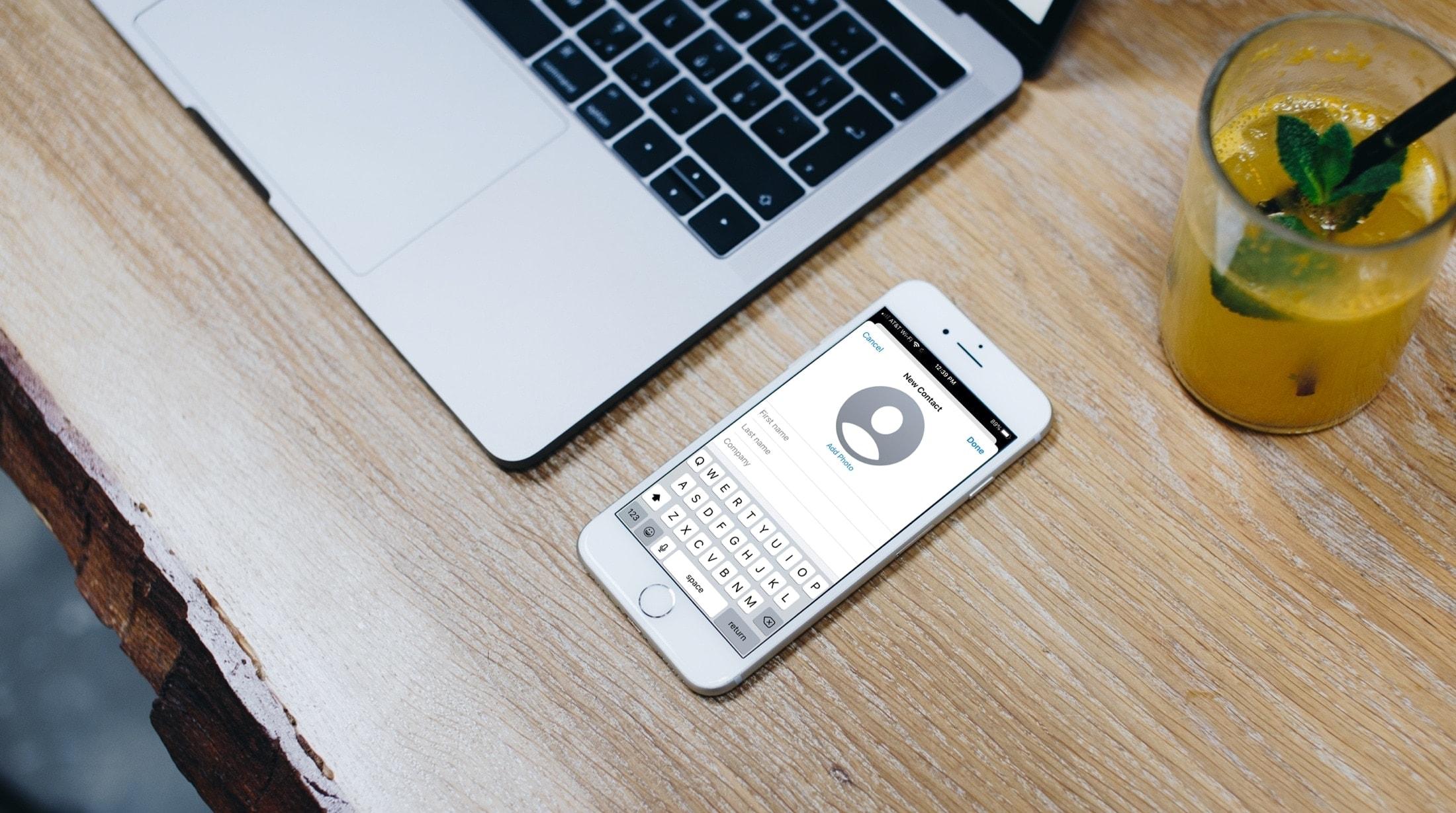Aplicación de contactos iPhone Nuevo contacto