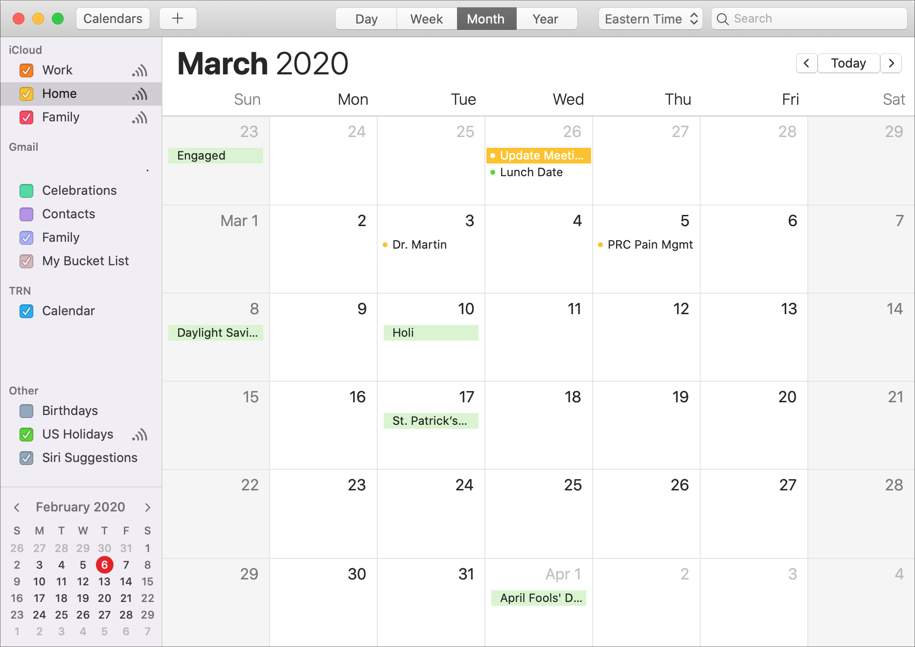 Calendario Mac mes de marzo