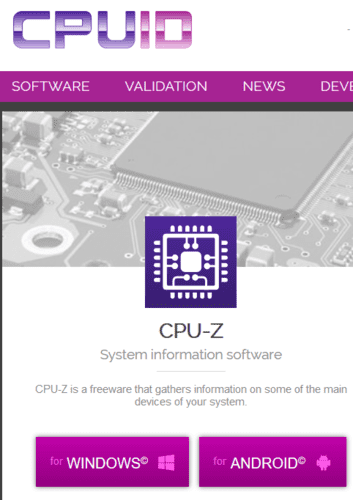 Tarjeta gráfica de identificación de la CPU Z para Windows