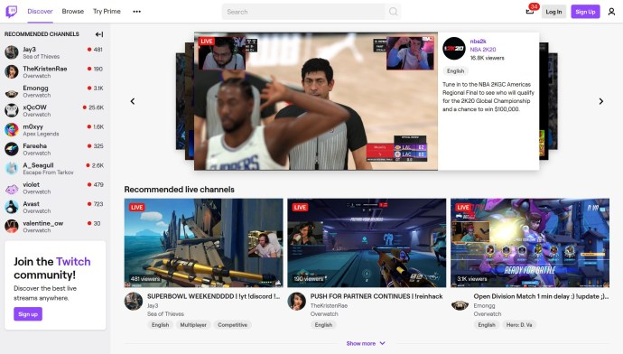 Twitch    sitio web