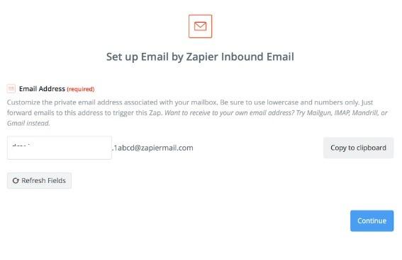 Buzón de correo electrónico cliente Zapier correo electrónico entrante