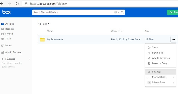 Cuadro de carpeta del cliente de correo electrónico de buzón