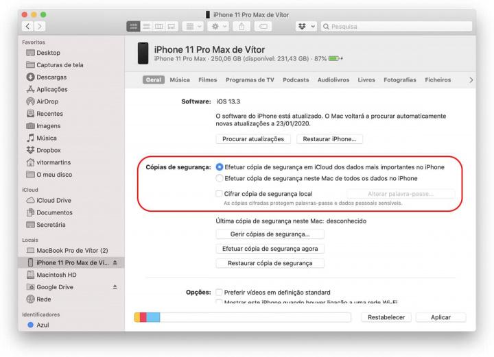 Backup Image Finder, macOS Catalina, en iPhone 11 Pro Max para iCloud