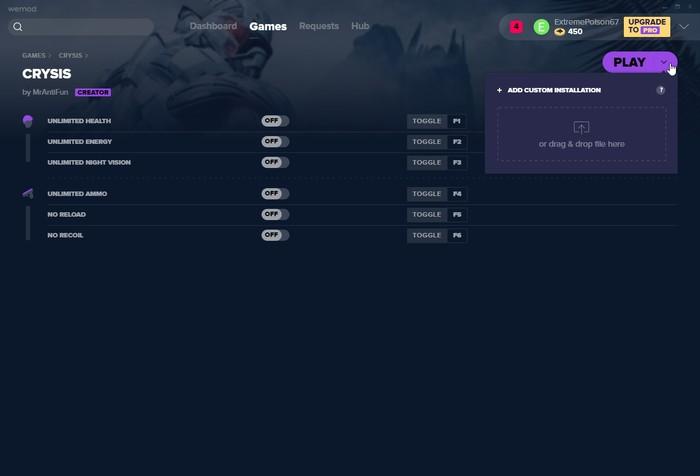 Instalación de juegos personalizados Wemod