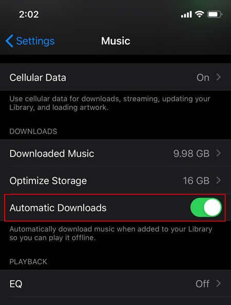 Descargas automáticas Apple Activar la música Toggle